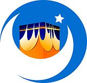 mosque, star and noon in blue background