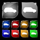 Jeep icon sign. Set of ten colorful buttons with glare.
