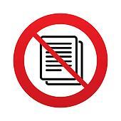 No Copy file sign icon. Duplicate document symbol.
