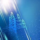 Blue electric power transmission tower.