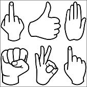 Human Hand collection, different hands gestures signals and signs.