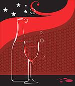wine glass and wine bottle with stars
