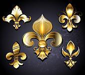 Set of  Golden Fleur de Lis