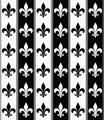 Black and White Fleur De Lis Textured Fabric Background
