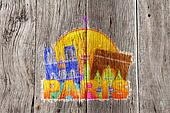 Paris City Skyline Silhouette Circle Color Impressionist Illustr