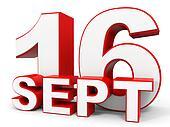 September 16. 3d text on white background.