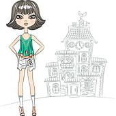 Vector hipster fashion girl top model in the city
