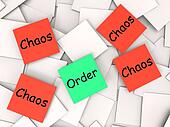 Order Chaos Post-It Notes Show Organized Or Confused