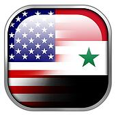 USA and Syria Flag square glossy button