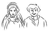 just married couple cartoon