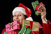 Perky Female Pensioner Presenting Wrapped Gifts