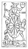 Map a set of Italian tarot cards, the game of Minchiate (National Library, prints practice), vintage engraving.