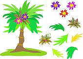 Mix of Tropical Palms, Flowers and Leaves
