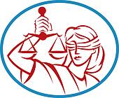 Lady holding up scales of justice set inside an oval.