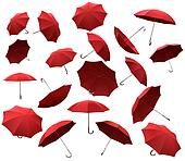 Many red flying umbrellas