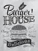 Poster lettering Burger House coal