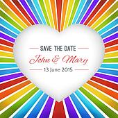 Rainbow heart background with Save the date. illustration