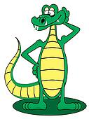 Cartoon Gator standing up and posing with a smile