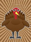 Sad turkey surrounded by rough brown ray beam back