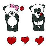 panda bear baby cute cartoon set