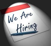 We Are Hiring Notebook Displays Employment Recruitment Or Person