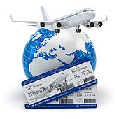 Travel concept. Airplane, earth and tickets.