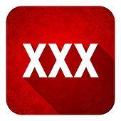 xxx flat icon, christmas button, porn sign