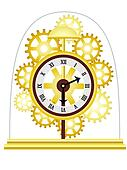 Skeleton Clock Golden Multiple Gears Vector