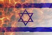 Flag of Israel wavy burning