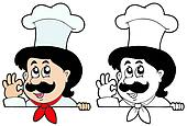 Lurking cartoon chef