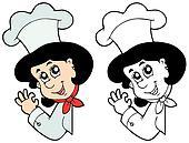 Lurking woman chef