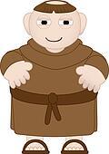 Tubby Monk in Brown Robes wearing sandles