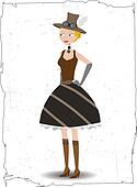 Steampunk cartoon woman posing