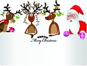 Merry Christmas Card with santa claud, three happy reindeer and a text box