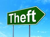 Safety concept: Theft on road sign background