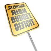 High budget deficit road sign