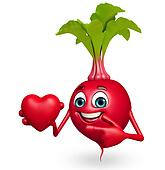 Cartoon character of beet root with heart