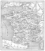Religious map of France, vintage engraving.