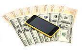 euro, dollars and phone
