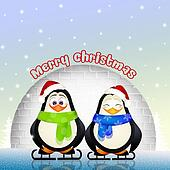 funny penguins at Christmas