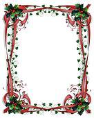 Christmas Holly Border ribbons Frame 3D
