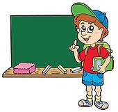 Advising school boy with blackboard