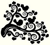 Stylized branch silhouette with birds
