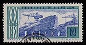 shipyard on vintage post stamp from Poland