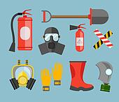 Safety equipment vector set. Fire protection and fire. A gas mask and a fire extinguisher. Set firefighter or rescuer. Rescue tools. Safety work