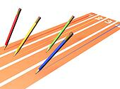 Four pencils racing
