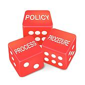 policy process procedure words on three red dice