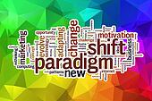 Paradigm shift word cloud with abstract background