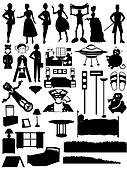 Random silhouettes set, steampunk, people,