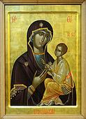 Icon of Budslav Mother of God (Mary) and child (Jesus Christ) on mahogany and gold